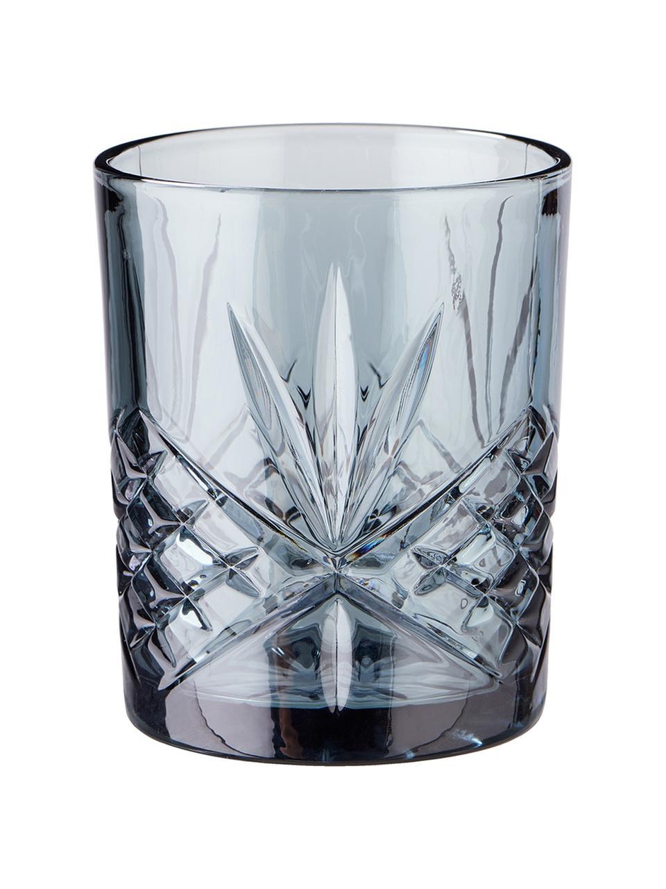 Szklanka Crystal Club, 4 szt., Szkło, Szary, Ø 8 x W 10 cm