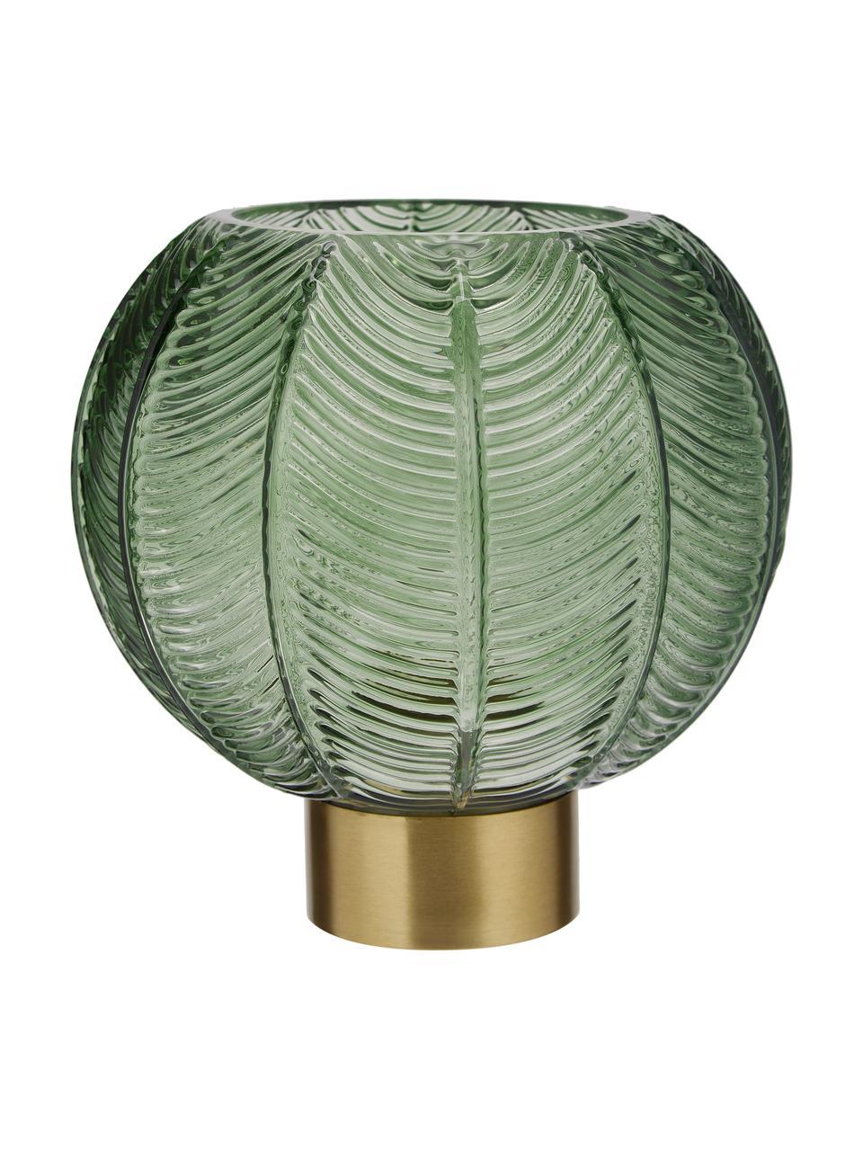 Vaso con base in ottone Mickey, Vaso: vetro, Vaso: verde, trasparente Base: ottone, Ø 20 x Alt. 21 cm