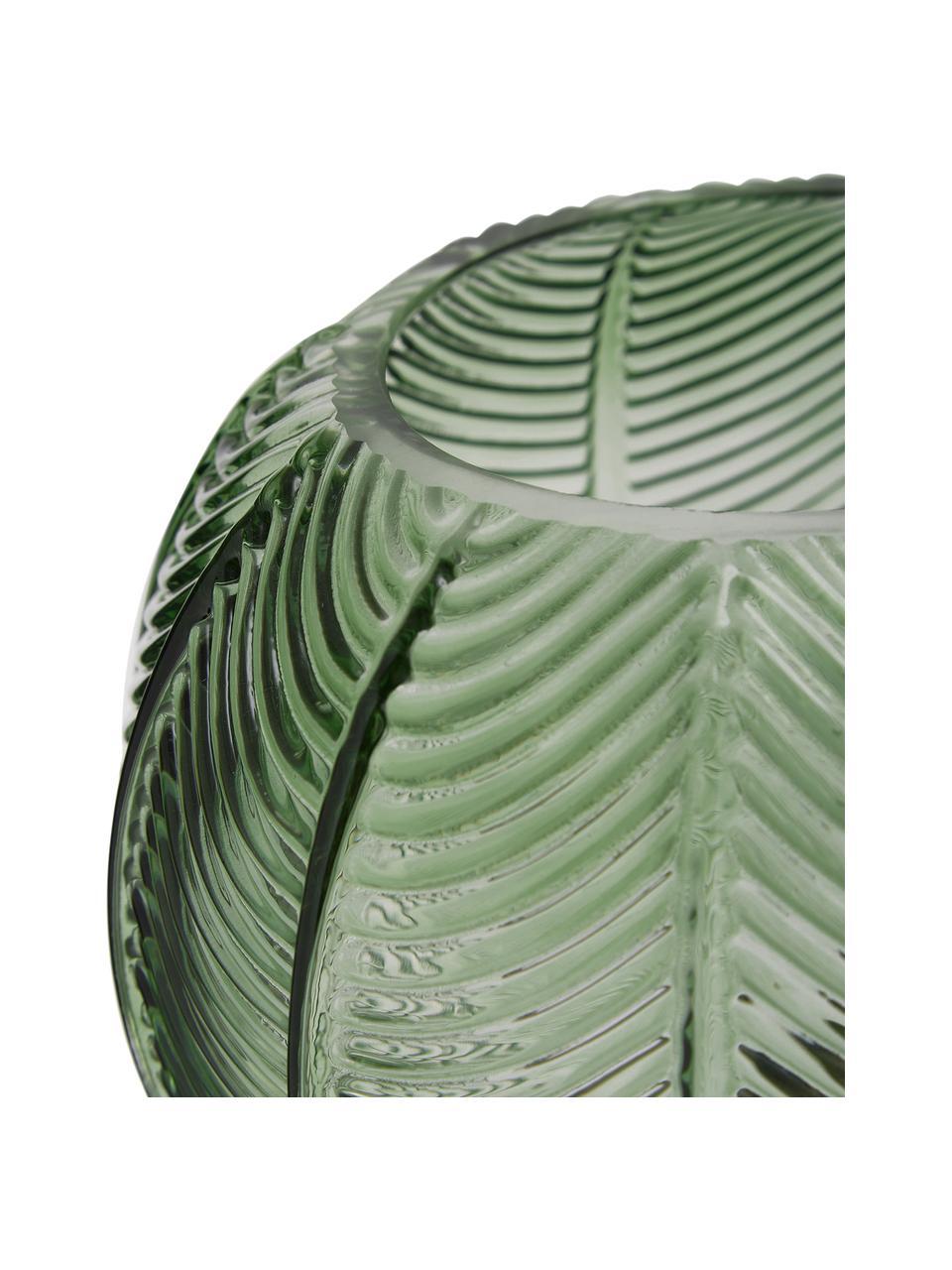 Vaso in vetro verde con base in ottone Mickey, Vaso: vetro, Vaso: verde, trasparente Base: ottone, Ø 20 x Alt. 21 cm