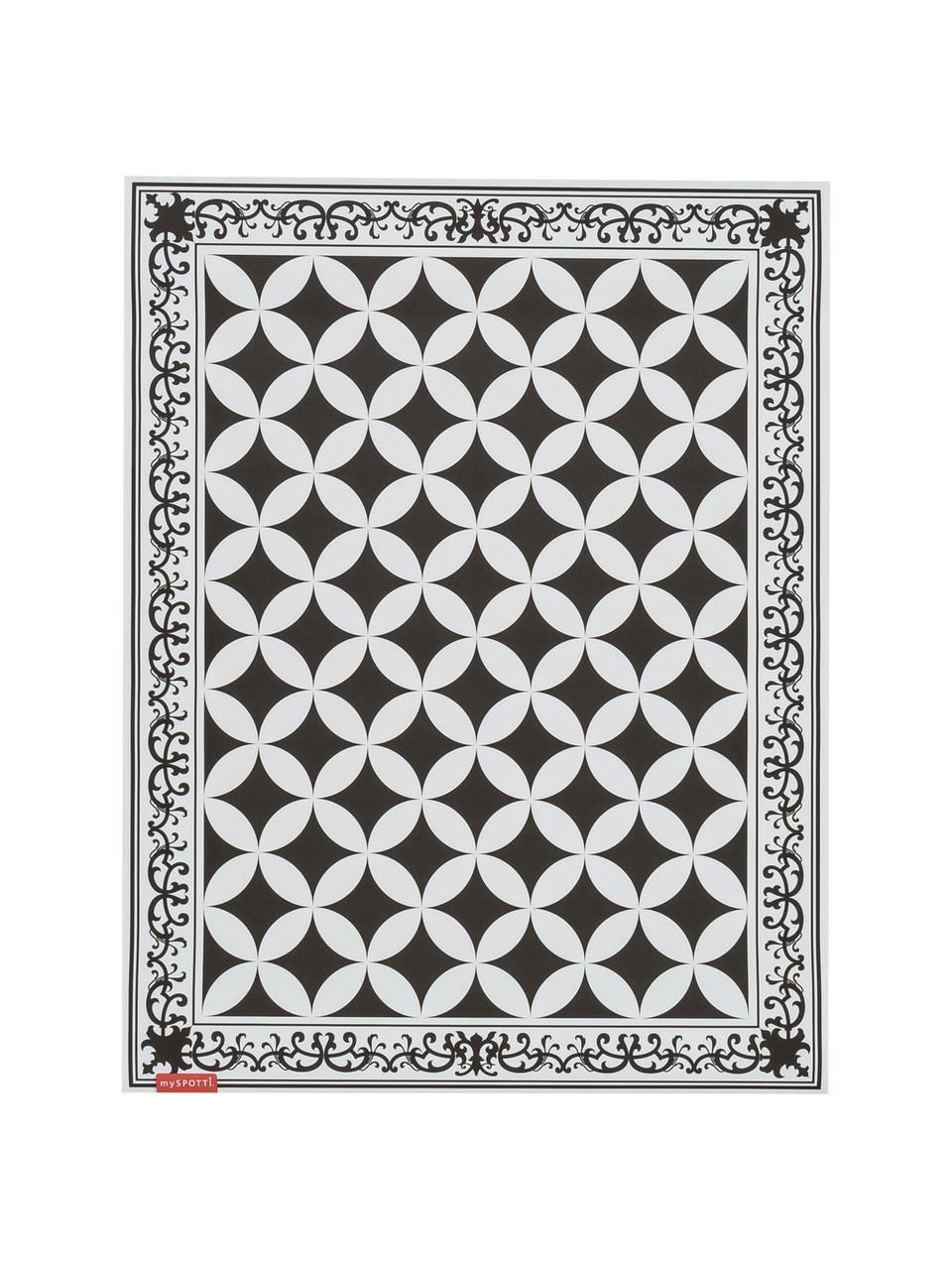 Tapis antidérapant intérieur extérieur en vinyle Chadi, Noir, blanc