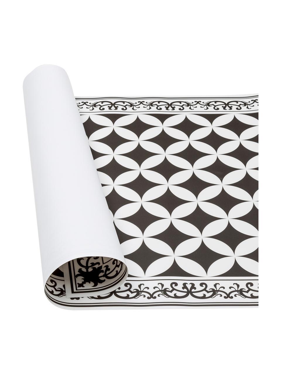 Flache Vinyl-Bodenmatte Chadi in Schwarz/Weiß, rutschfest, Vinyl, recycelbar, Schwarz, Weiß, 136 x 203 cm