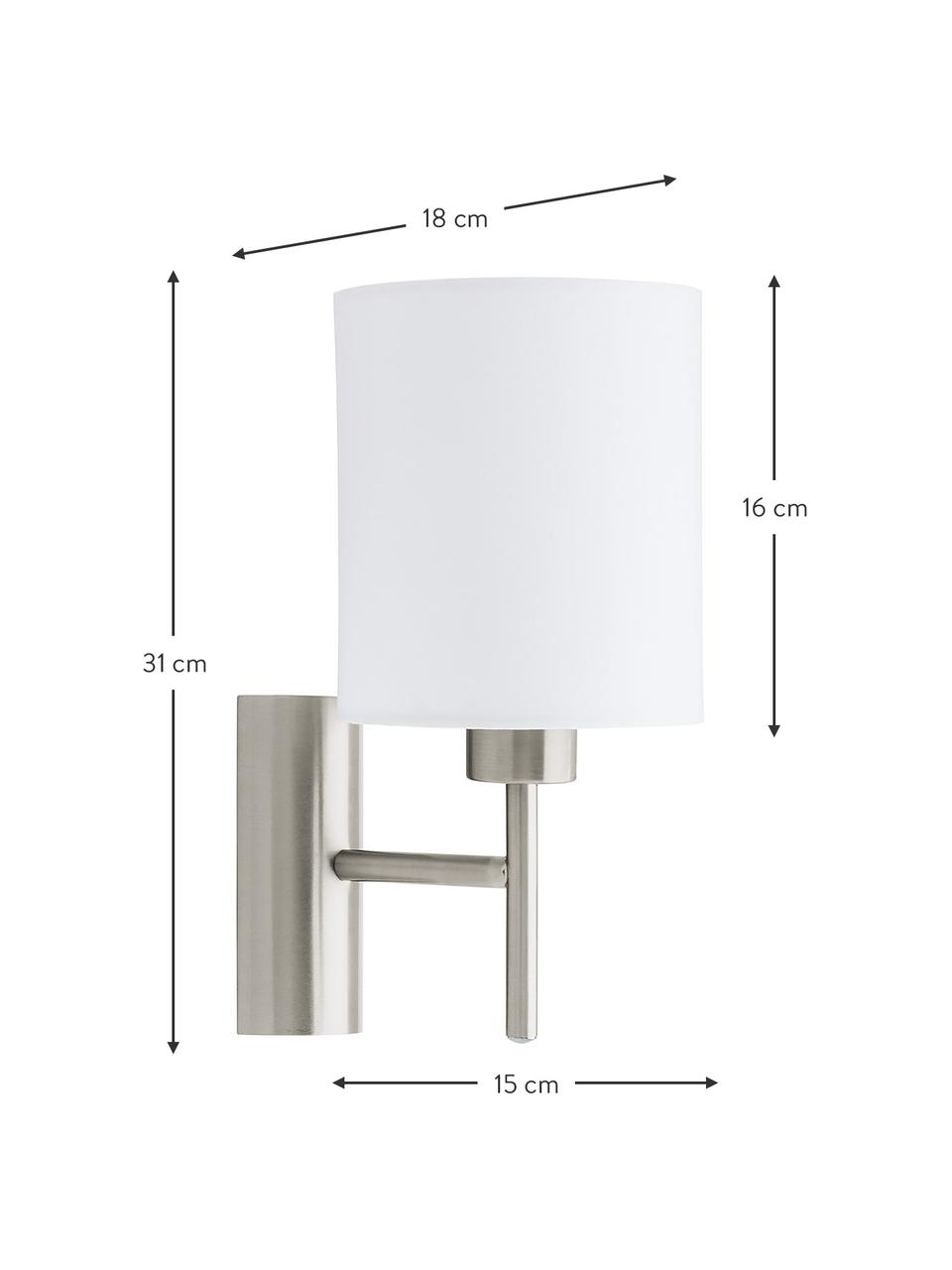 Applique Mick, Paralume: tessuto, Struttura: metallo nichelato, Bianco, argentato, Ø 15 x Alt. 31 cm