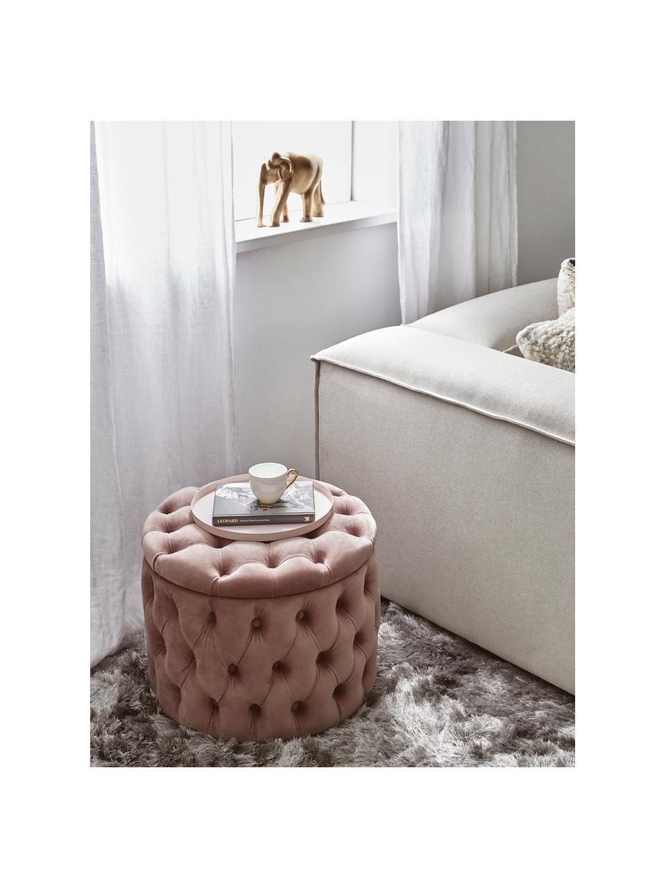 Puf z aksamitu z miejscem do przechowywania Chiara, Tapicerka: aksamit (poliester) Dzięk, Korpus: drewno eukaliptusowe, Blady różowy, Ø 50 x W 42 cm