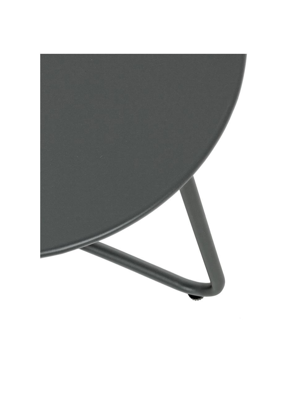 Metall-Gartenbeistelltisch Wissant in Dunkelgrau, Stahl, pulverbeschichtet, Dunkelgrau, Ø 40 x H 45 cm