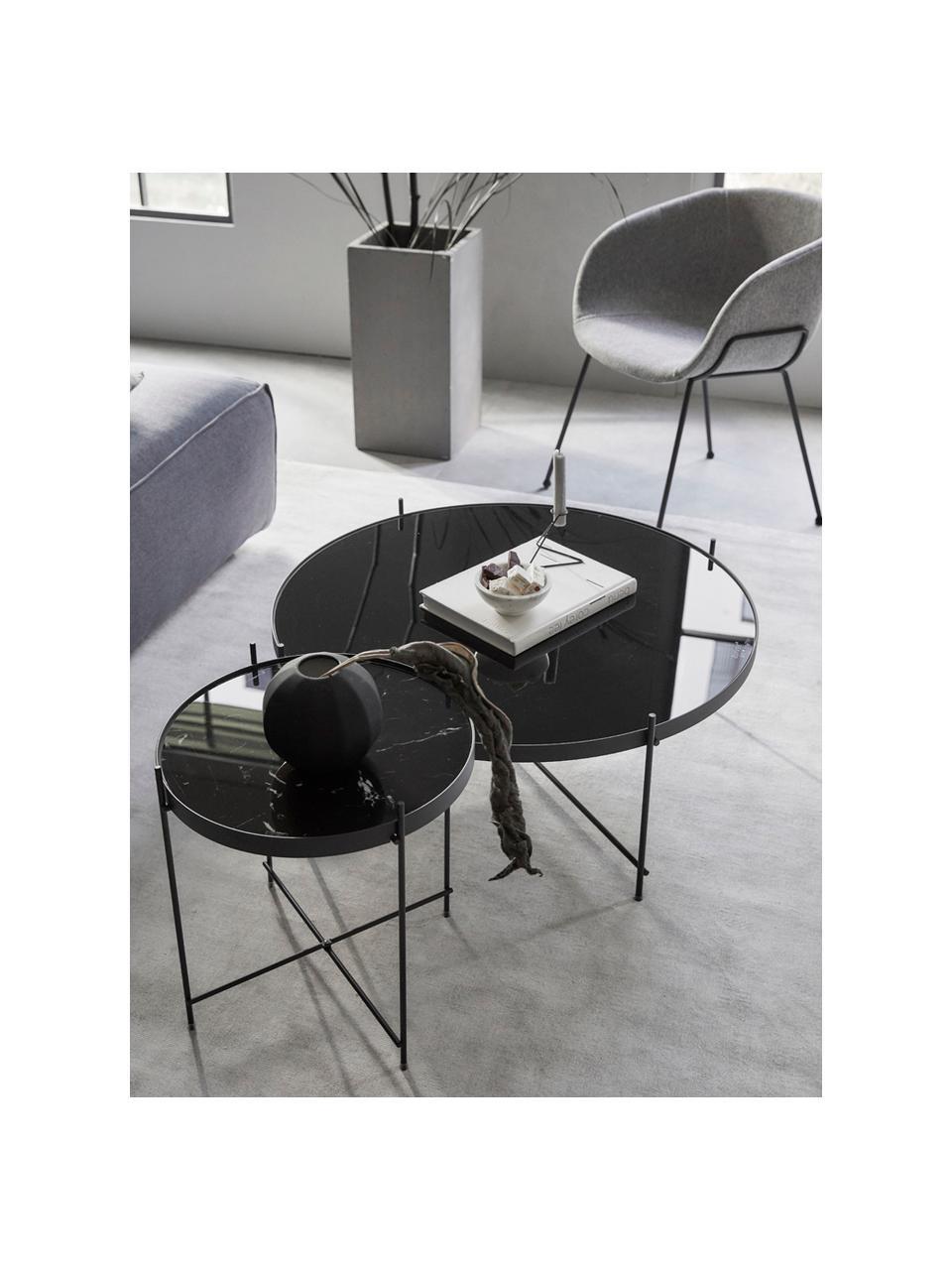 Tavolino rotondo da salotto con piano in vetro Cupid, Struttura: metallo verniciato a polv, Nero, Ø 63 x Alt. 40 cm