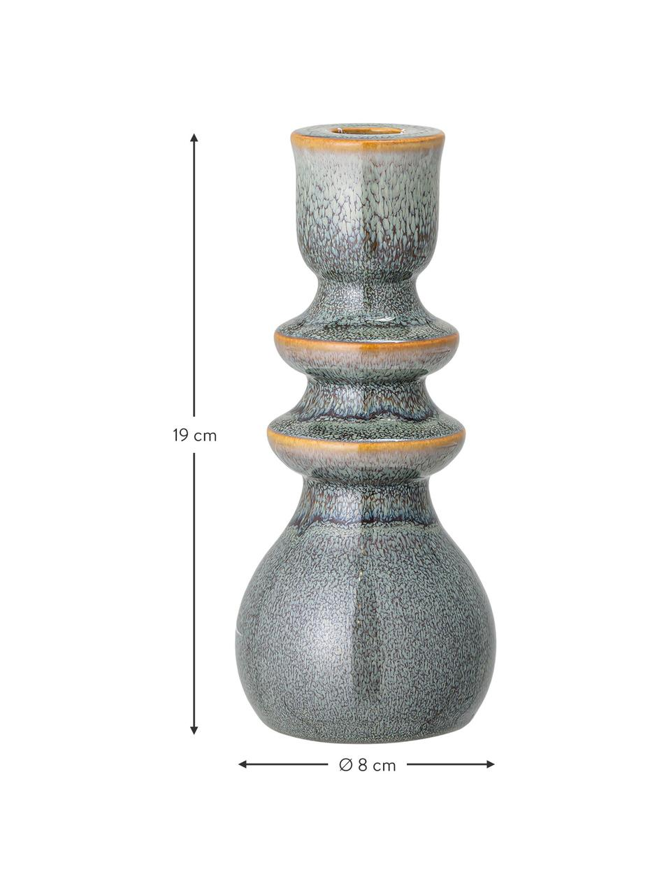 Handgemaakte kandelaar Kit, Keramiek, Groen, bruin, Ø 8 x H 19 cm