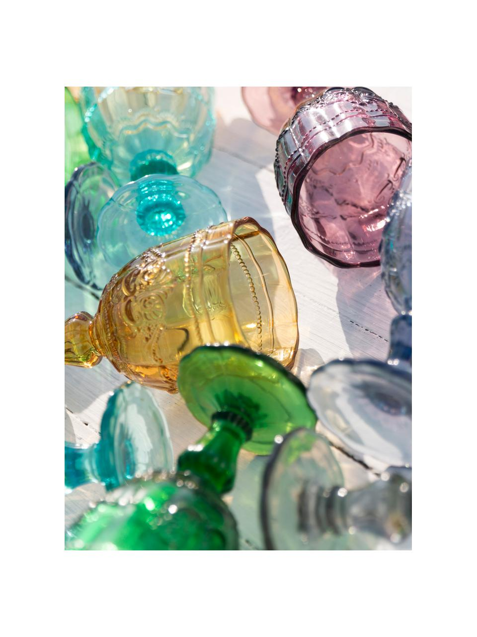Set 6 bicchieri vino colorati con motivo a rilievo Syrah, Vetro, Rosa, blu, turchese, verde, giallo, grigio, Ø 7 x Alt. 24 cm