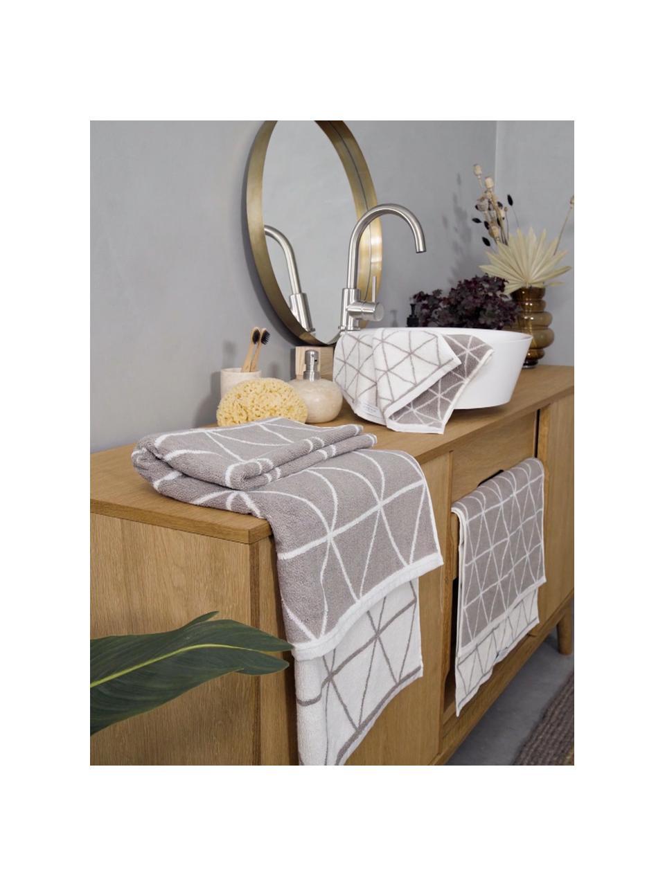 Komplet dwustronnych ręczników Elina, 3 elem., Taupe, kremowobiały, Komplet z różnymi rozmiarami