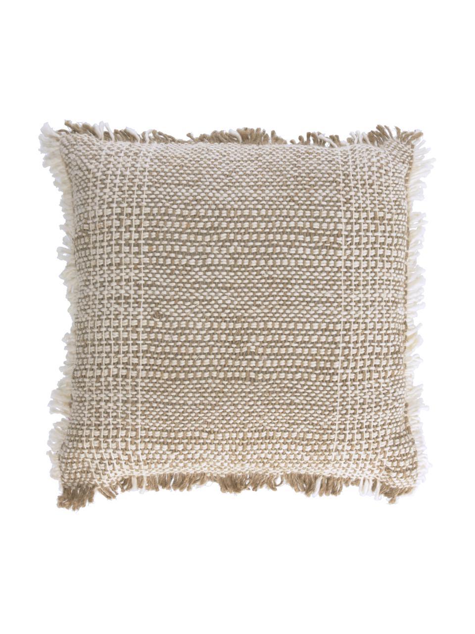 Kussenhoes Ami met structuur-oppervlak en franjes, 100% katoen, Beige, 45 x 45 cm