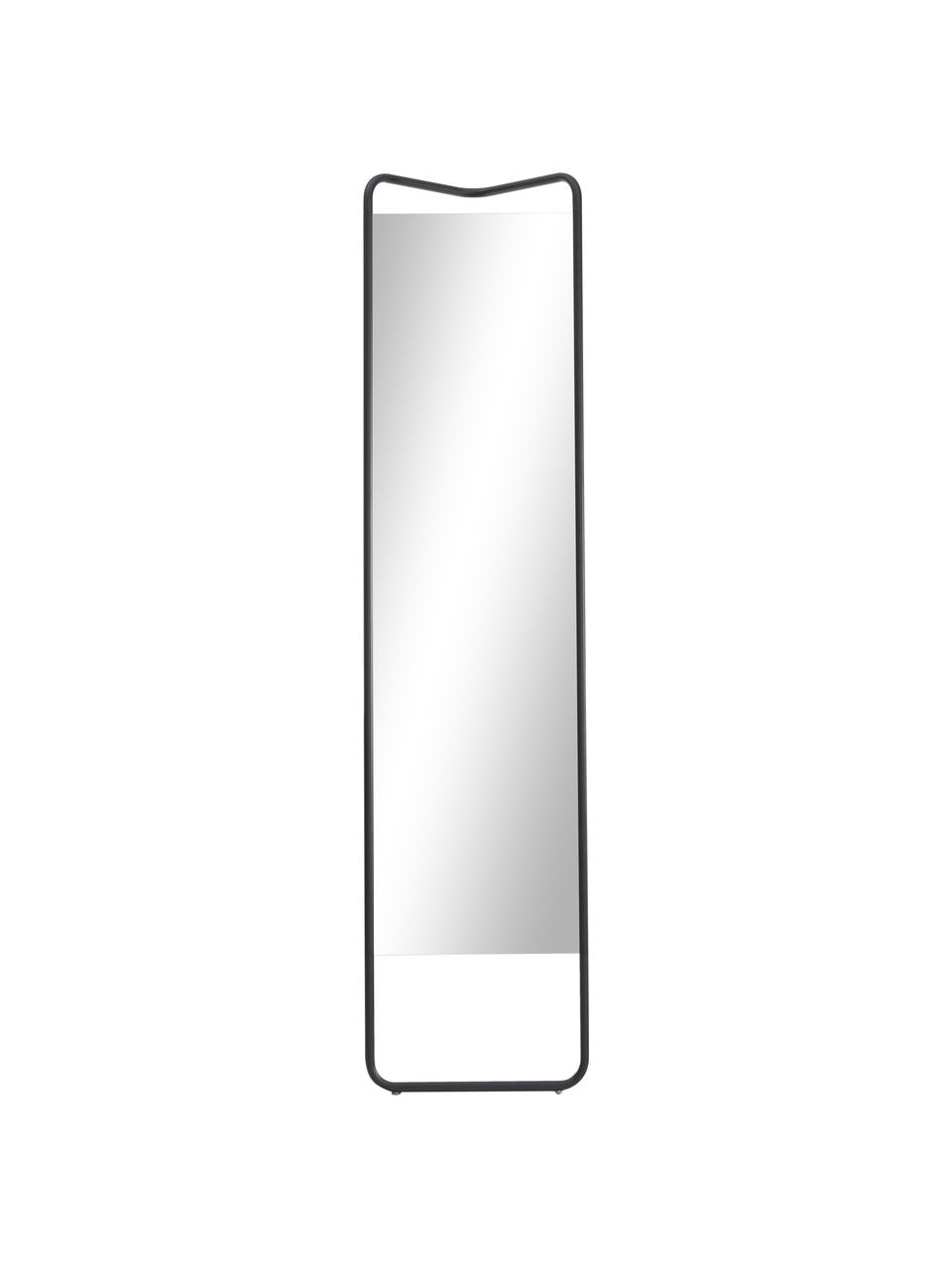 Eckiger Anlehnspiegel Kasch mit schwarzem Aluminiumrahmen, Rahmen: Aluminium, pulverbeschich, Spiegelfläche: Spiegelglas, Schwarz, 42 x 175 cm