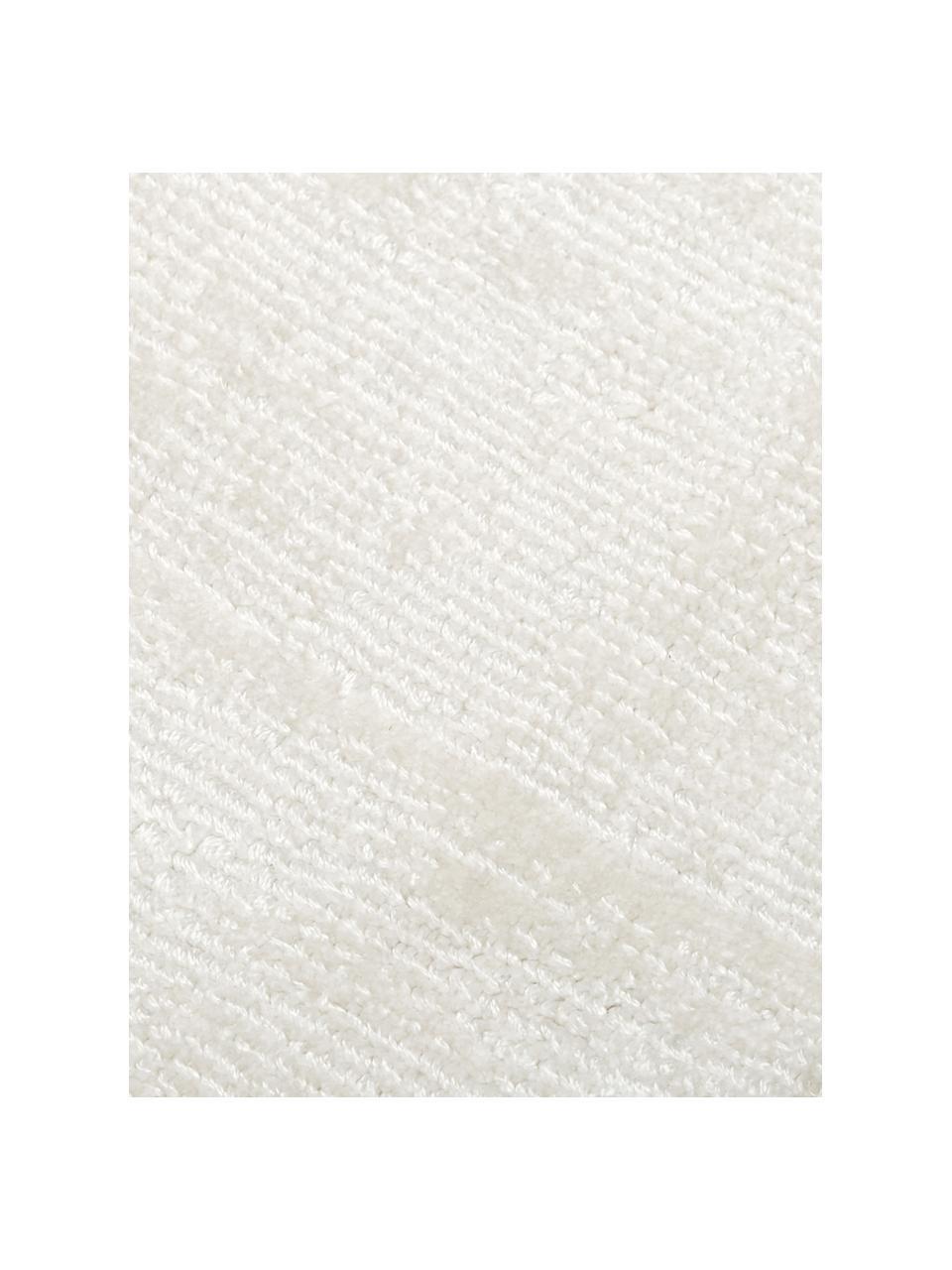 Tappeto rotondo in viscosa color avorio tessuto a mano Jane, Retro: 100% cotone, Avorio, Ø 150 cm (taglia M)