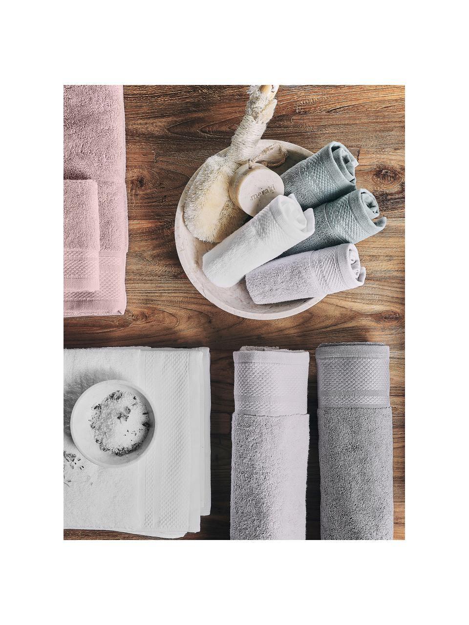 Set 3 asciugamani con bordo decorativo classico Premium, Rosa cipria, Set in varie misure