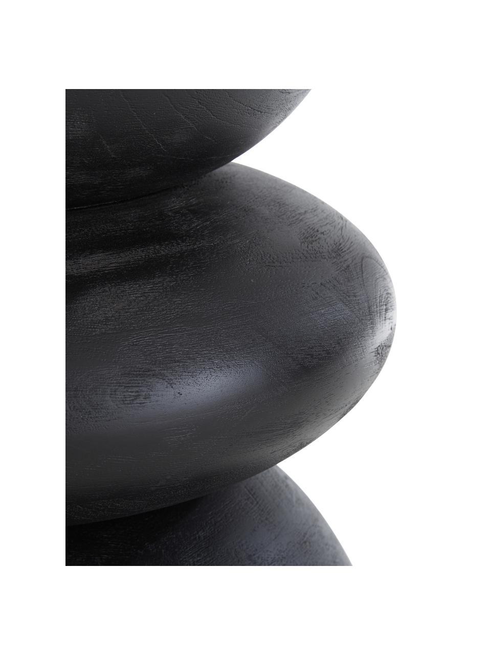 Tavolino rotondo in legno di mango Benno, Legno massiccio di mango verniciato, Legno di mango nero verniciato, Ø 35 x Alt. 50 cm