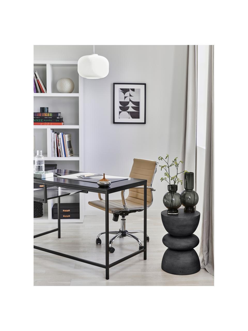 Stolik pomocniczy z drewna mangowego Benno, Lite drewno mangowe, lakierowane, Drewno mangowe, czarny lakierowany, Ø 35 x W 50 cm