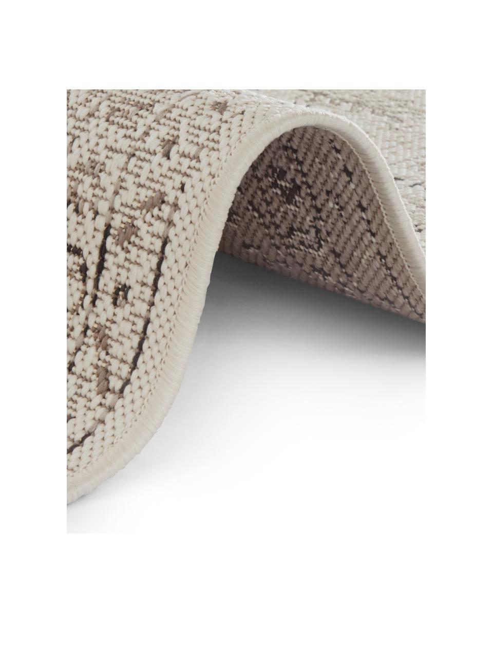 In- & Outdoor-Teppich Navarino mit Vintagemuster, 100% Polypropylen, Cremeweiß, Taupe, B 200 x L 290 cm (Größe L)