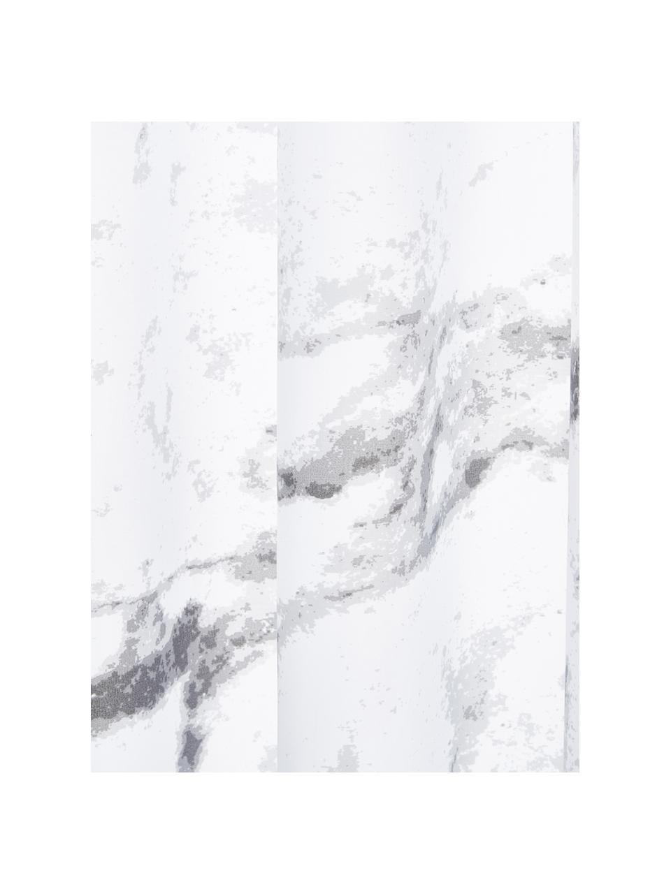 Rideau de douche avec imprimé marbré Marble, Anthracite, blanc