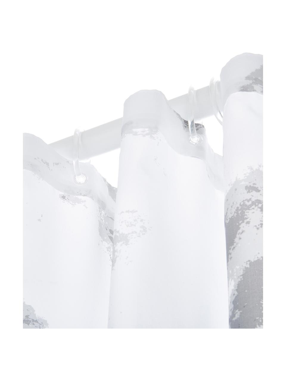 Duschvorhang Marble mit Marmor-Print, 100% Polyester Wasserabweisend, nicht wasserdicht, Anthrazit, Weiß, 180 x 200 cm