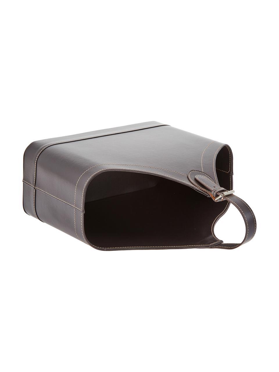 Stojak na czasopisma Ready, Stelaż: tektura, Tapicerka: poliuretan, Stojak na czasopisma: brązowy Szwy: beżowy Obudowa: metal, S 40 x W 45 cm