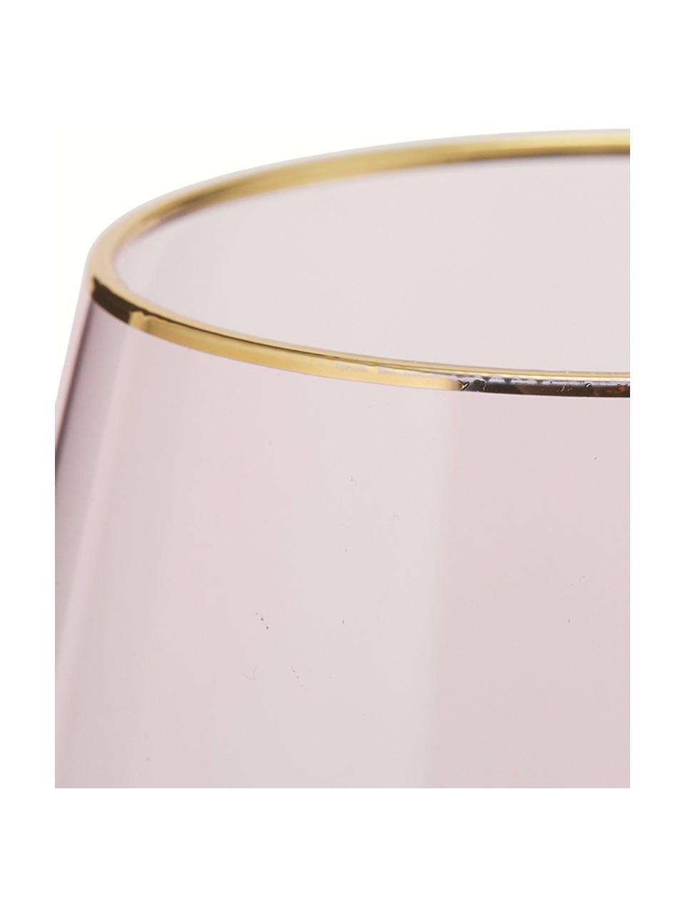 Wassergläser Chloe in Rosa mit Goldrand, 4 Stück, Glas, Pfirsichfarben, Goldfarben, Ø 9 x H 12 cm