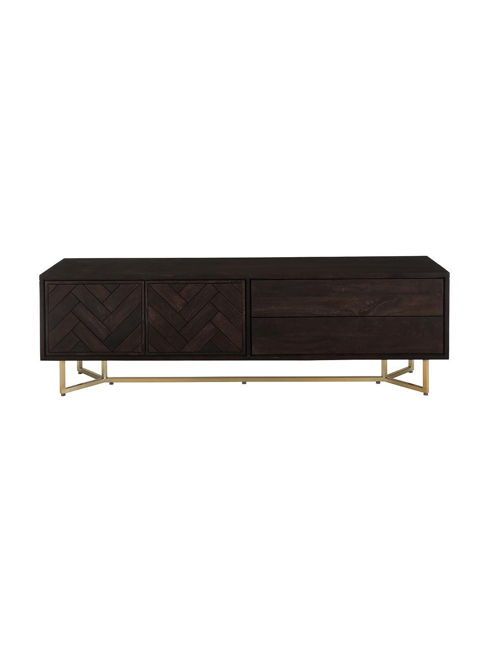 Visgraat tv-meubel Luca met deuren van massief hout, Frame: gecoat metaal, Bruin, goudkleurig, 180 x 54 cm