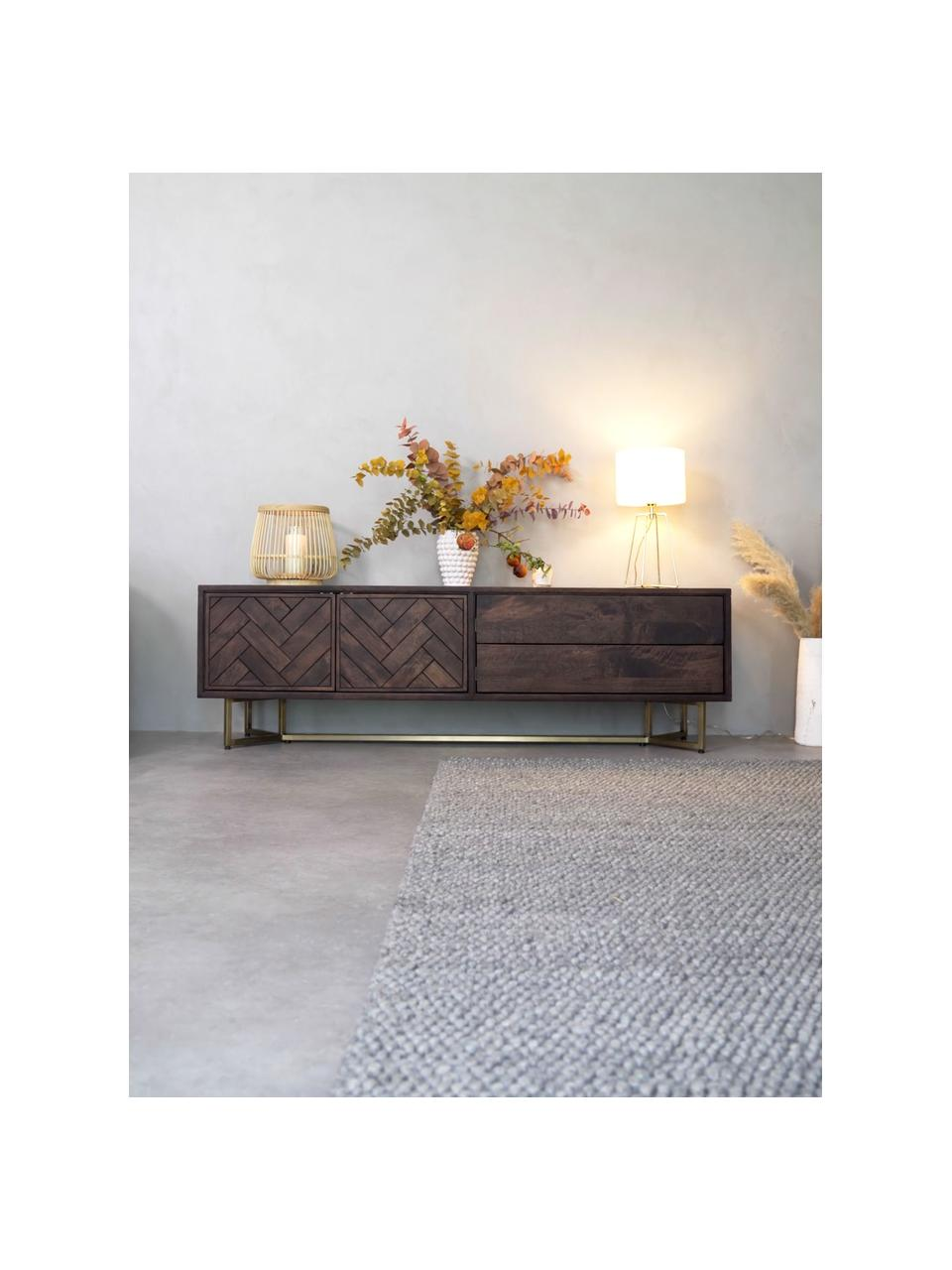 Visgraat dressoir Luca met deuren van massief hout, Frame: massief mangohout, Frame: gecoat metaal, Frame: mangohout. Frame, handvatten: messingkleurig, mat, 180 x 54 cm