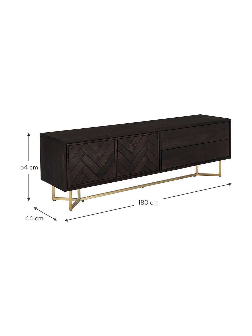 Szafka niska w jodełkę z litego drewna Luca, Korpus: lite drewno mangowe, Stelaż: metal powlekany, Brązowy, odcienie złotego, S 180 x W 54 cm