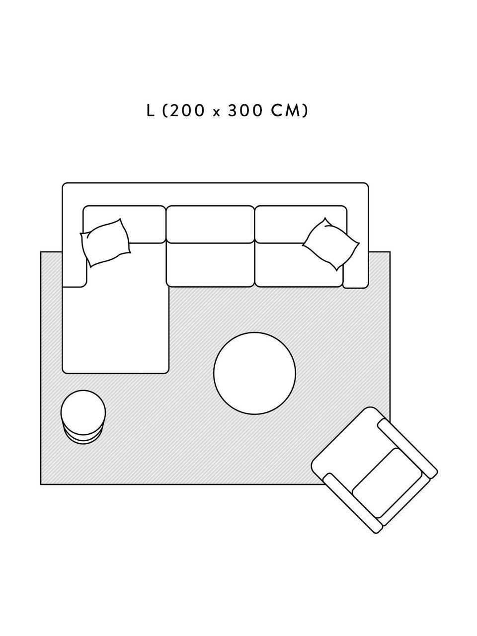 Tappeto morbido a pelo lungo con motivo a rilievo Rubbie, Retro: 55% poliestere, 45% coton, Beige, Larg. 160 x Lung. 230 cm (taglia M)