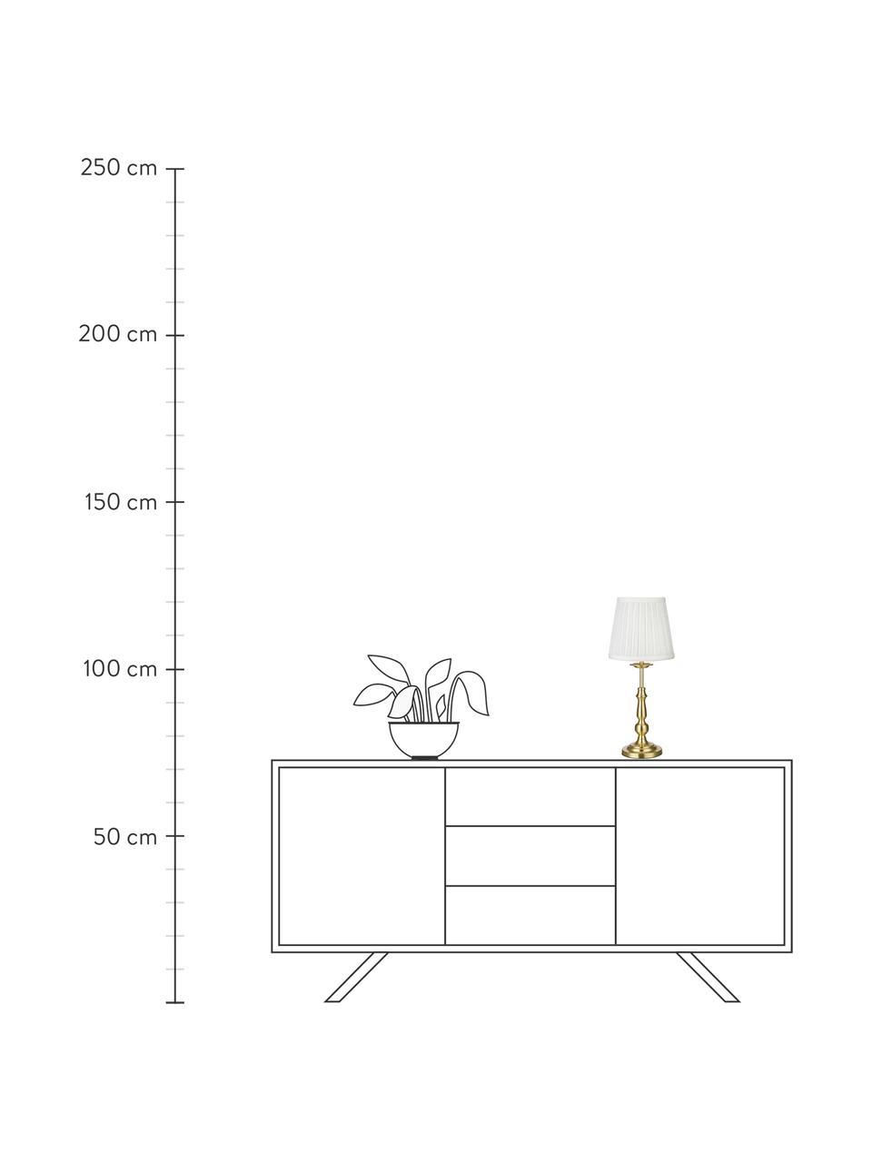Lampada da tavolo in ottone Imperial, Paralume: poliestere, Base della lampada: metallo ottonato, Bianco, ottone, Ø 18 x Alt. 49 cm
