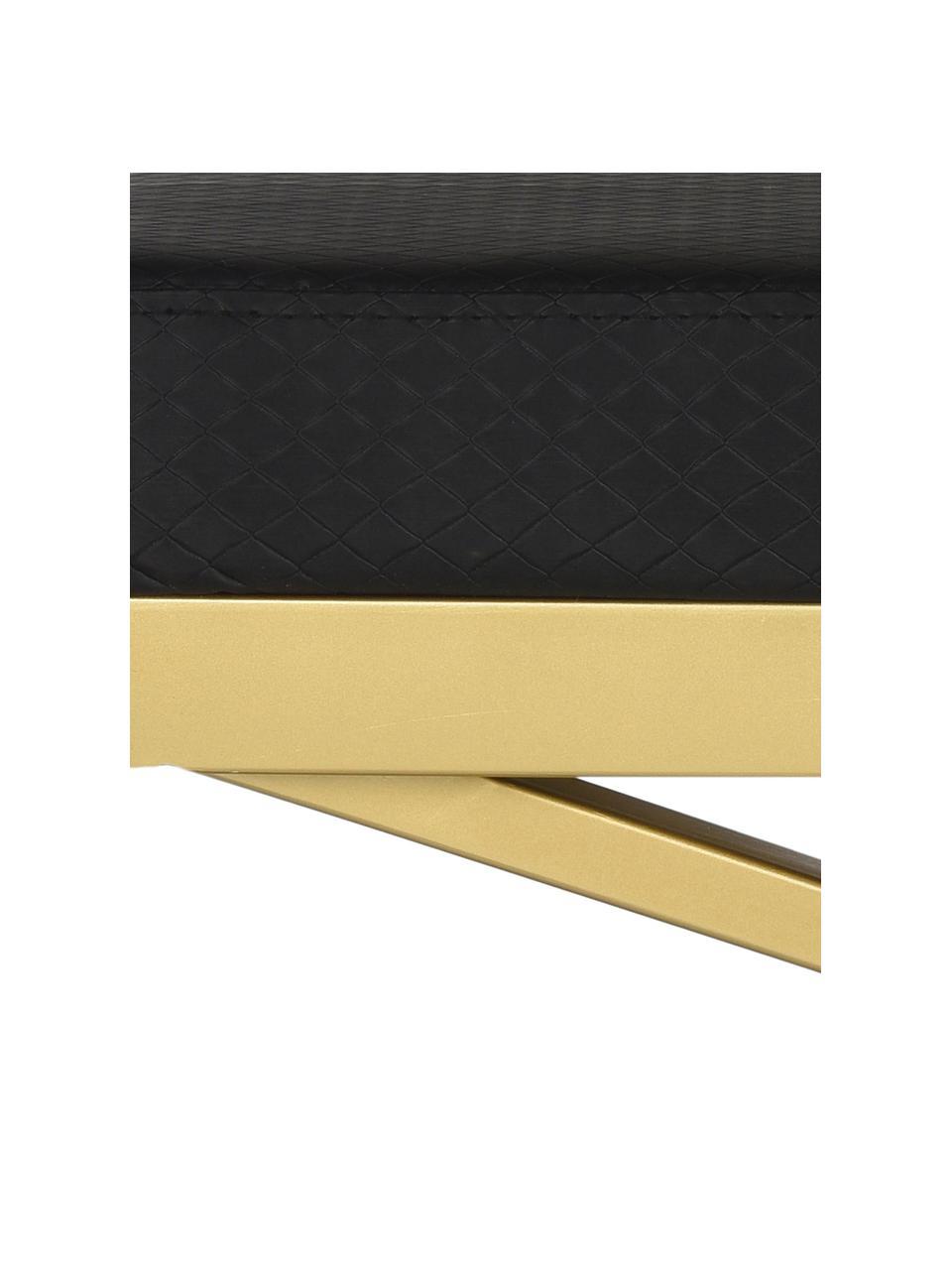 Panca in similpelle Susan, Struttura: acciaio verniciato, Rivestimento: similpelle (poliuretano) , Nero, dorato, Larg. 109 x Alt. 46 cm