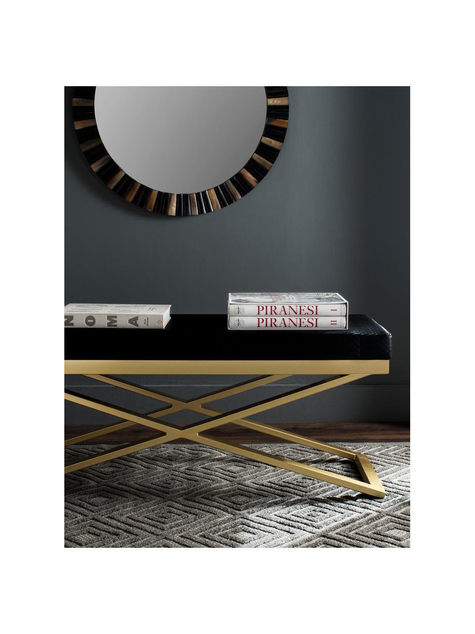 Banc cuir synthétique Susan, Noir, couleur dorée