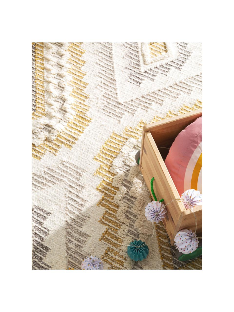 Dywan z wełny w stylu boho Wanda, 70% wełna, 30% akryl Włókna dywanów wełnianych mogą nieznacznie rozluźniać się w pierwszych tygodniach użytkowania, co ustępuje po pewnym czasie, Żółty, szary, kremowy, S 160 x D 230 cm (Rozmiar M)