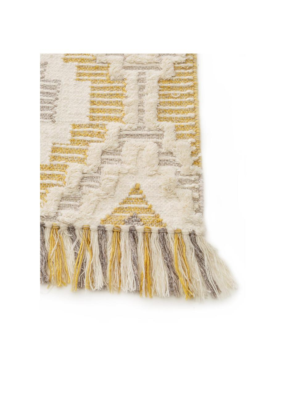 Tapis en laine jaune gris ethnique Wanda, Jaune, gris, crème