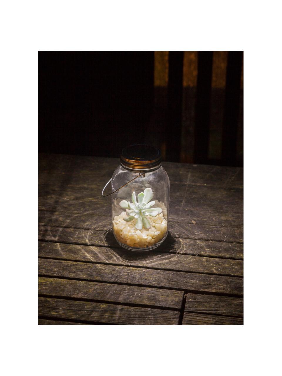 Solar Außenlaterne Bianca, Lampenschirm: Glas,, Deckel: Metall, verzinkt, Griff: Metall, verzinkt, Transparent, Ø 10 x H 18 cm