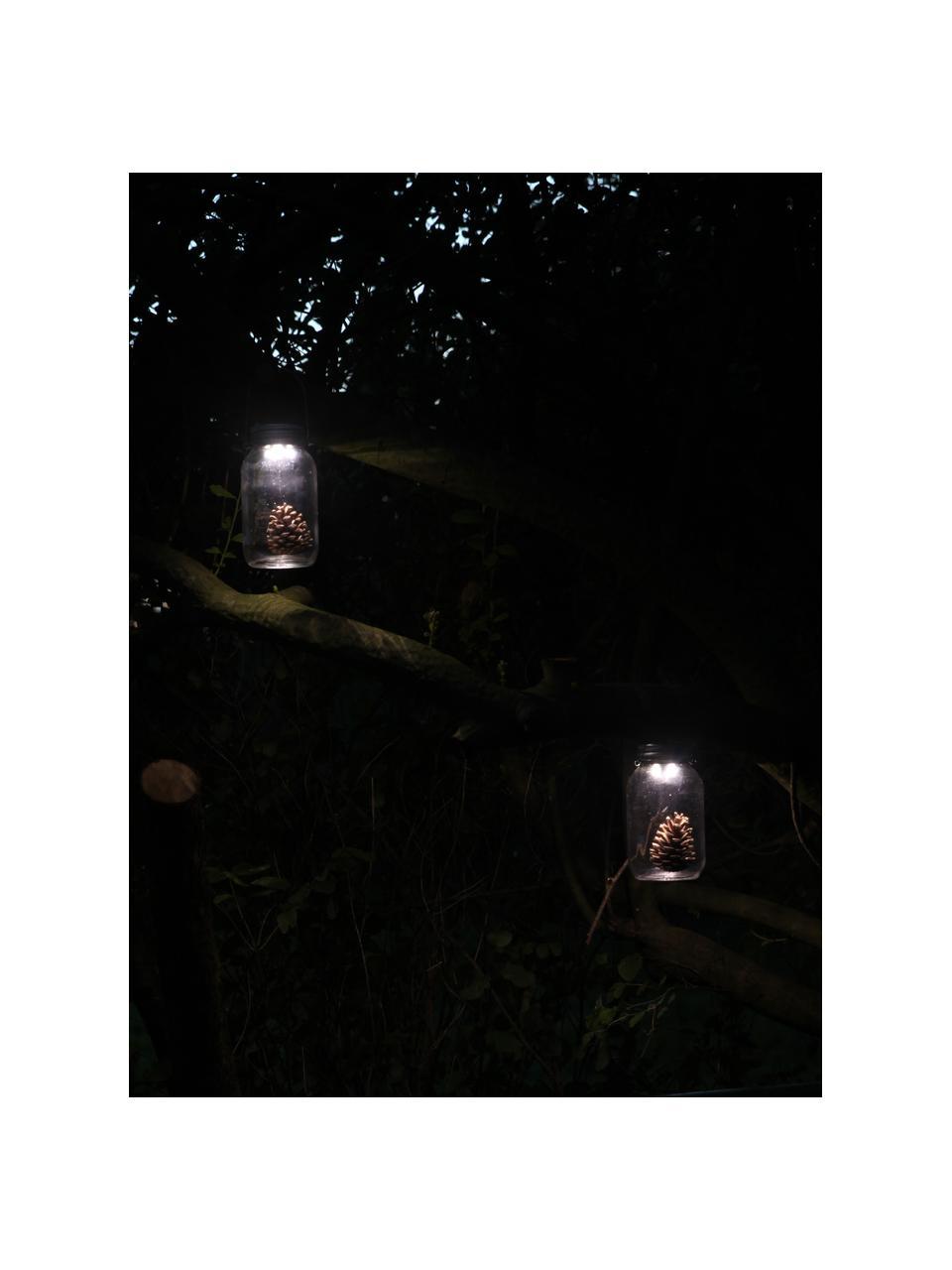 Solar outdoor lantaarn Bianca, Houder: glas, Deksel: verzinkt metaal, Transparant, Ø 10 x H 18 cm
