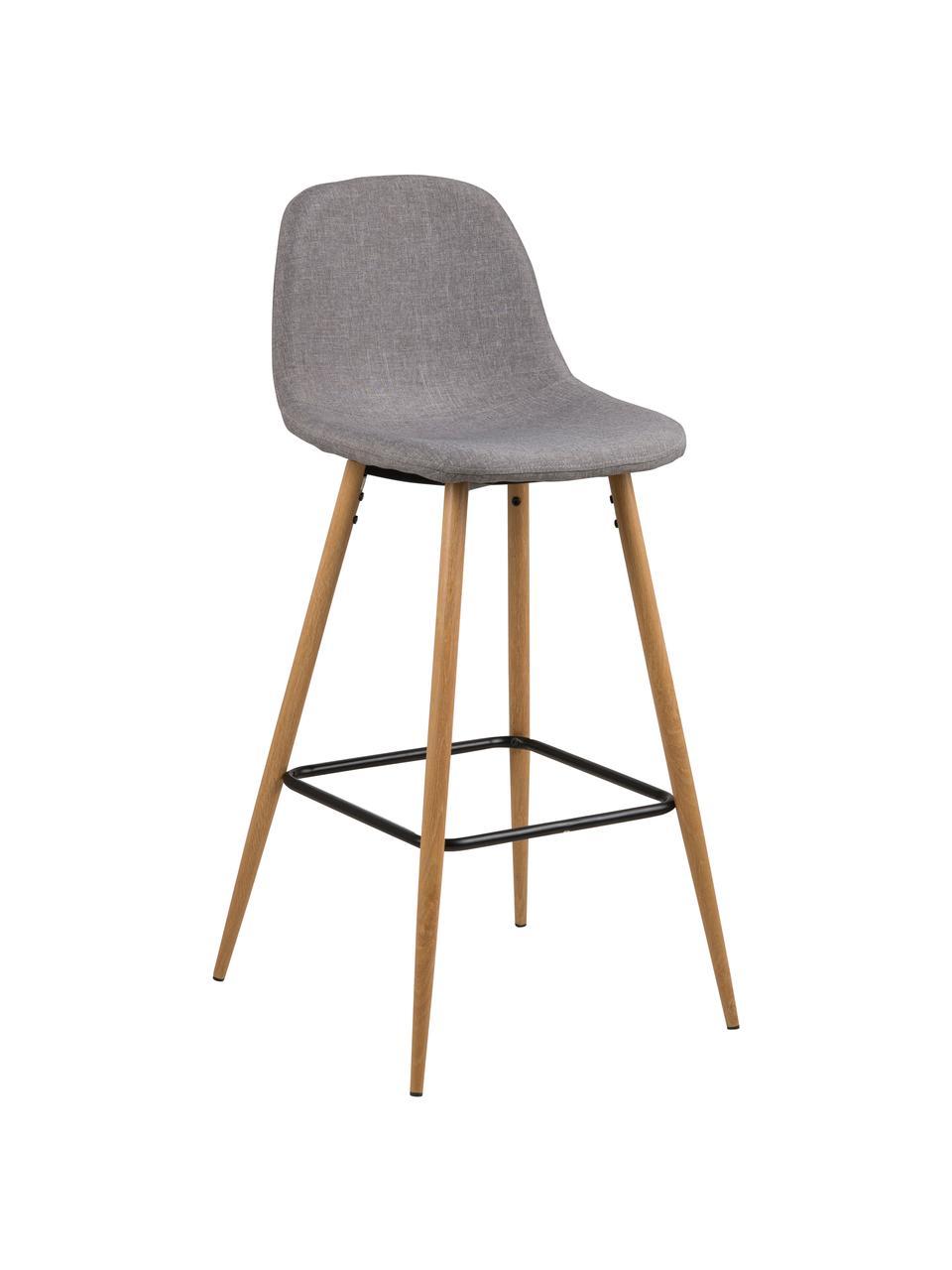 Barstuhl Wilma in Grau, Beine: Metall mit Eichedekor, Bezug: Polyester, Beine: Eiche Streben: Schwarz Bezug: Hellgrau, 47 x 101 cm