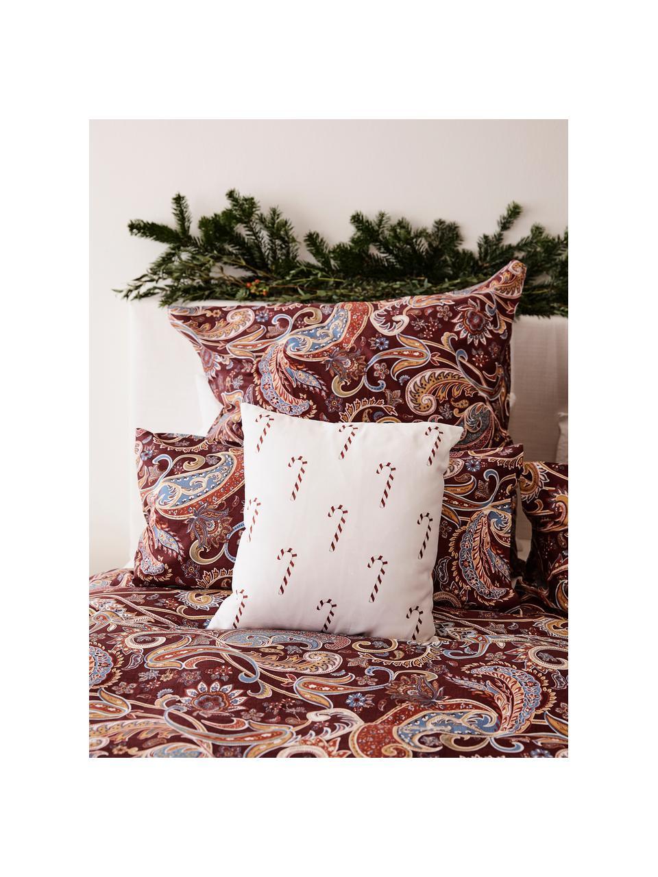 Poszewka na poduszkę Candy Cane, Bawełna, Czerwony, biały, S 40 x D 40 cm
