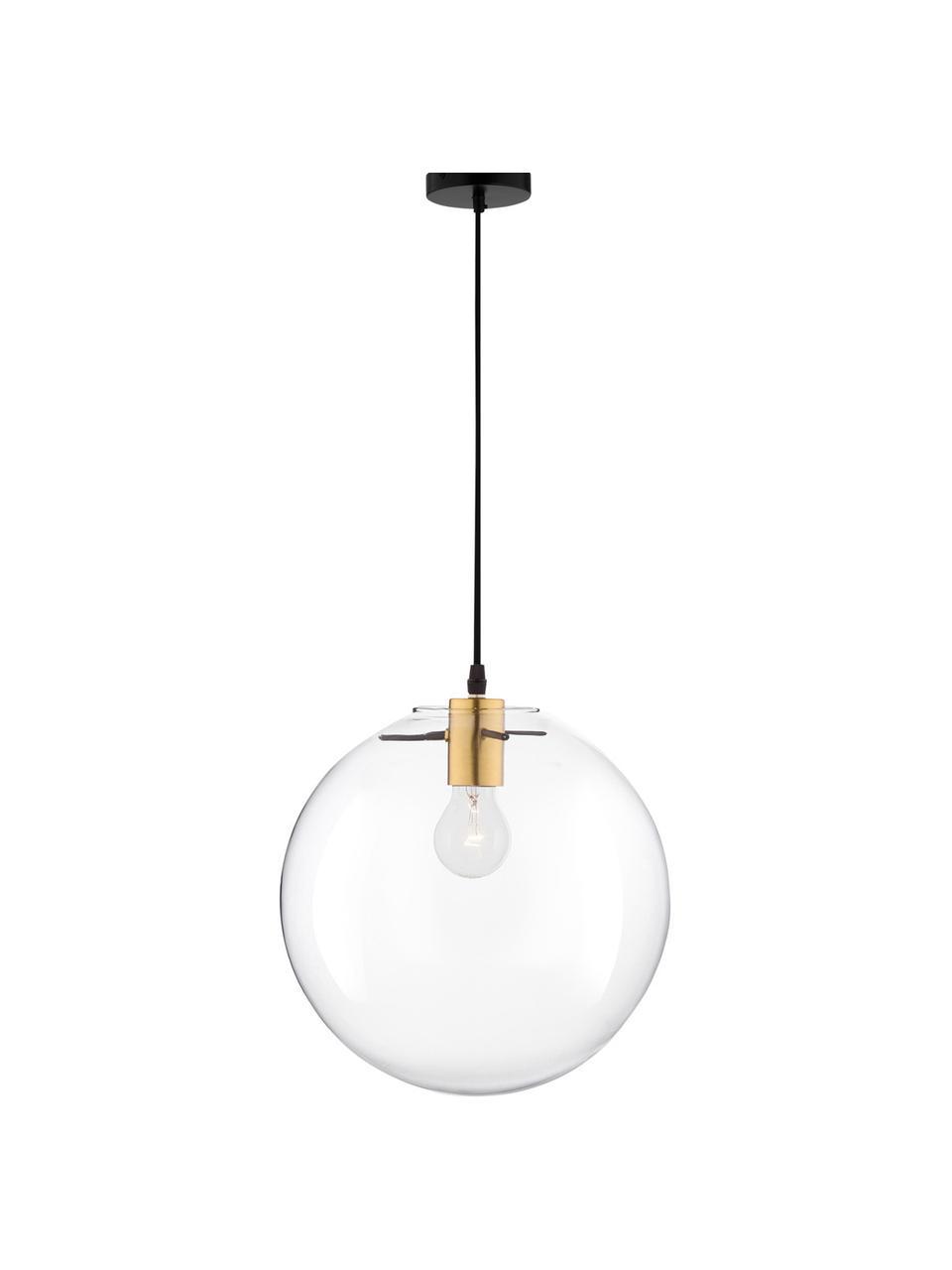 Mała lampa wisząca ze szkła Mirale, Odcienie mosiądzu, transparentny, Ø 25 x W 26 cm