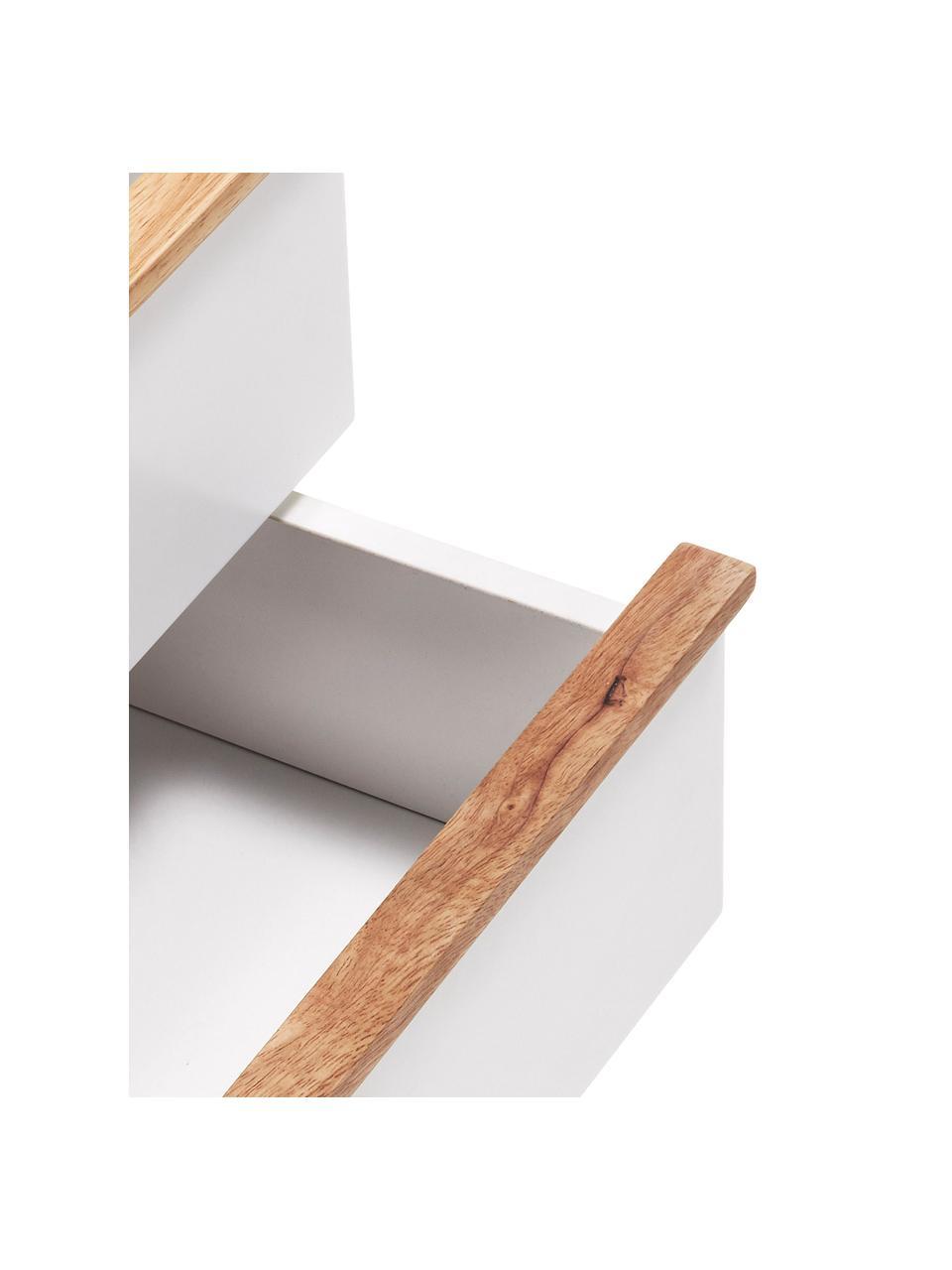Table de chevet avec tiroir Melan, Blanc, bois de chêne