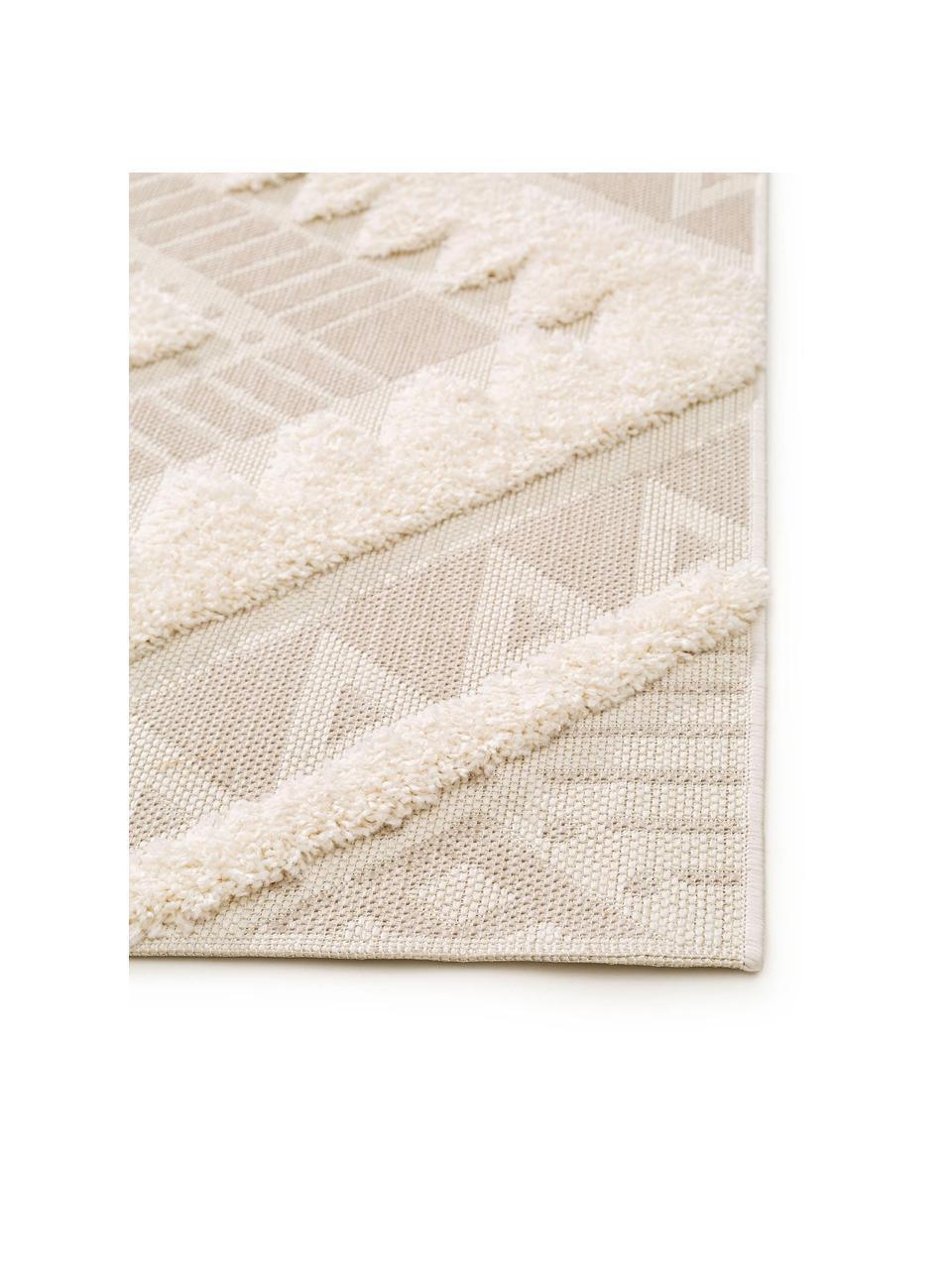 Tapis d'extérieur en laine crème ethnique à surface texturée Kim, Beige, crème