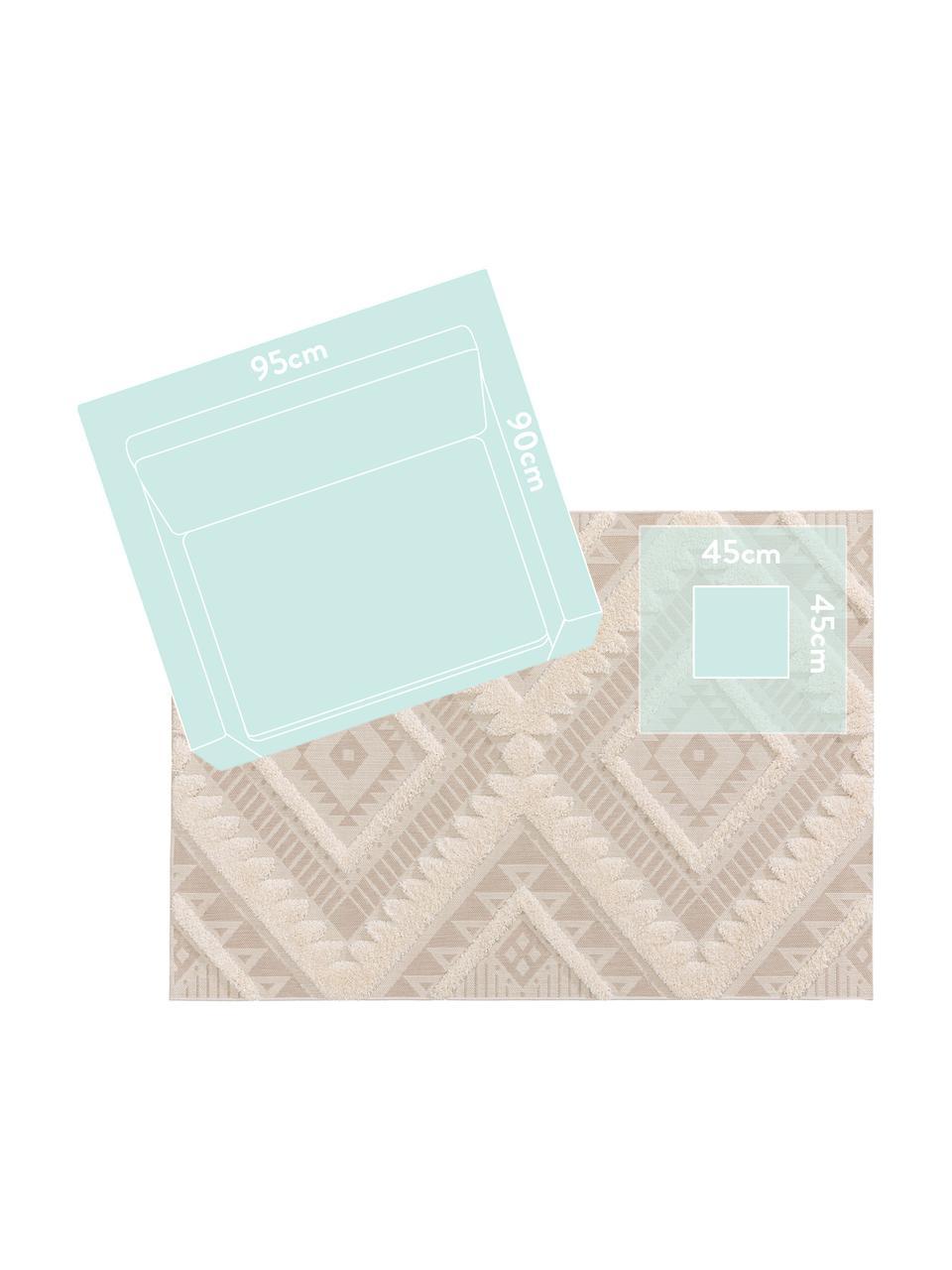 Tappeto etnico da interno-esterno con motivo a rilievo Carlo, 100% polietilene, Beige, crema, Larg. 120 x Lung. 170 cm (taglia S)