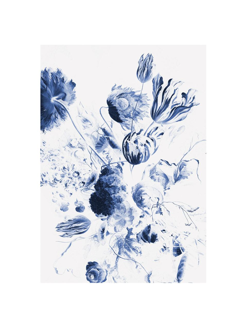 Carta da parati Royal blue Flowers, Tessuto non tessuto, ecologico e biodegradabile, Blu, bianco opaco, Larg. 196 x Alt. 280 cm