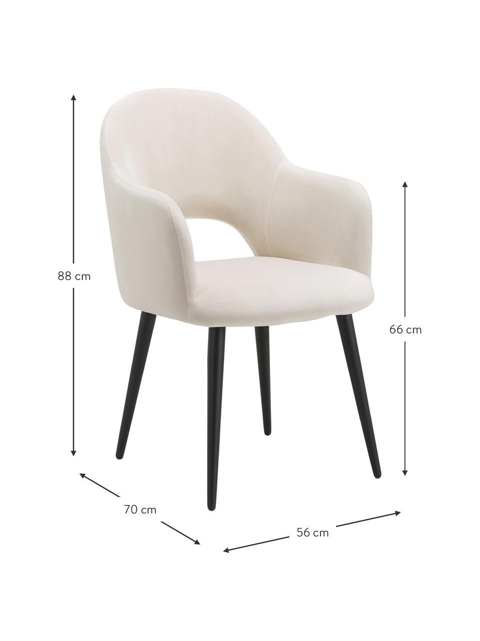 Sametová židle spodručkami Rachel, Béžová