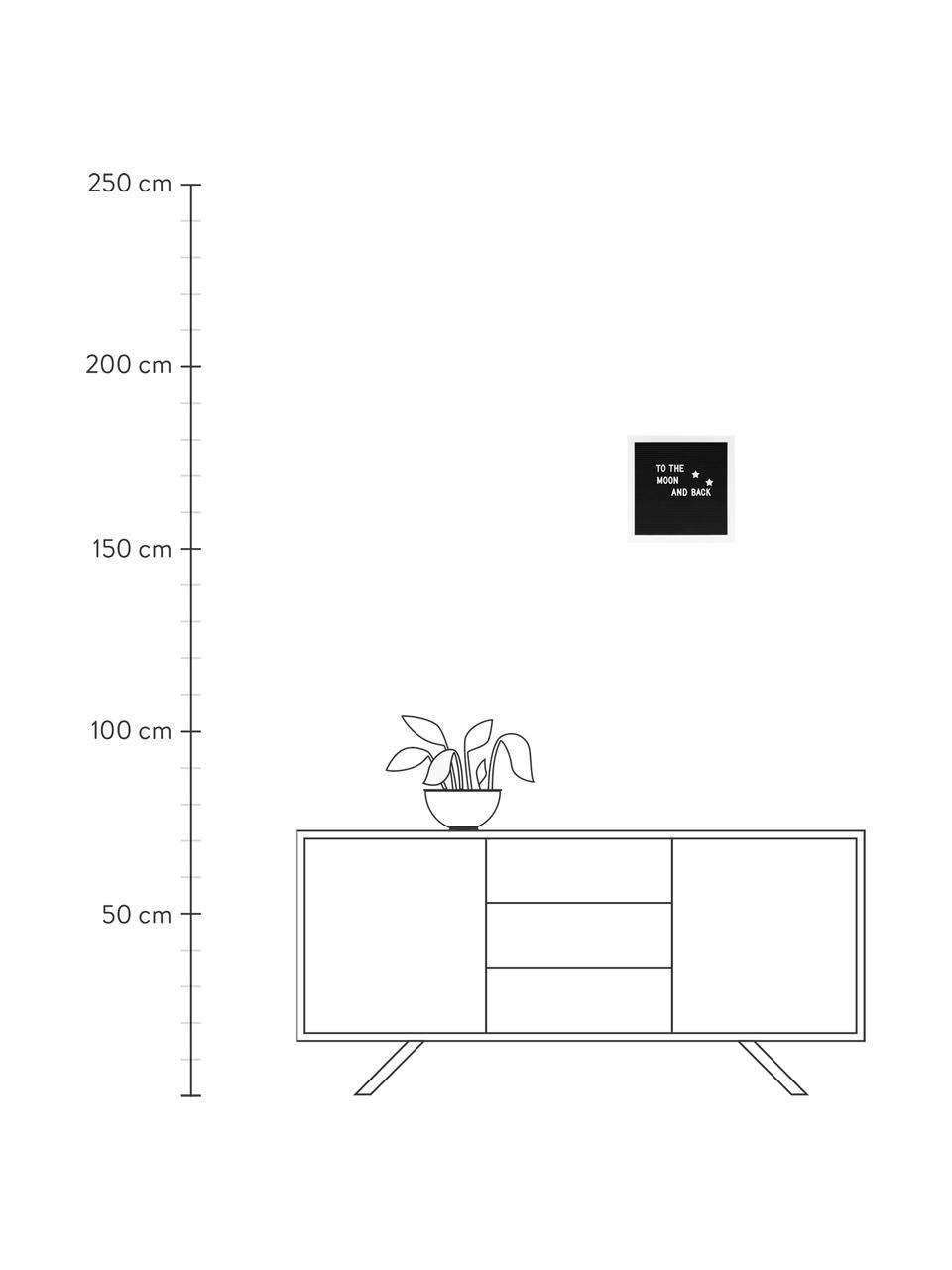 Buchstabentafel Message mit Holzrahmen, Rahmen: Mitteldichte Holzfaserpla, Schwarz, Weiß, 30 x 1 cm