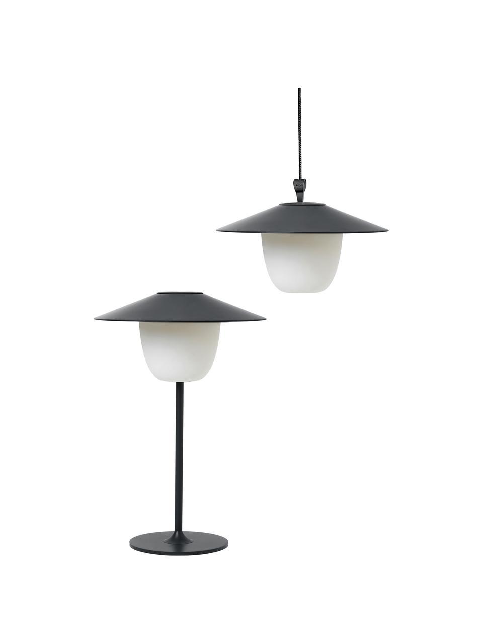 Mobile Dimmbare Außenleuchte Ani zum Hängen oder Stellen, Lampenschirm: Aluminium, Lampenfuß: Aluminium, beschichtet, Dunkelgrau, Ø 22 x H 33 cm