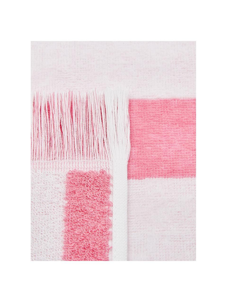 Gestreiftes Strandtuch Mare, 100% Baumwolle leichte Qualität 380 g/m², Pink, Weiß, 80 x 160 cm