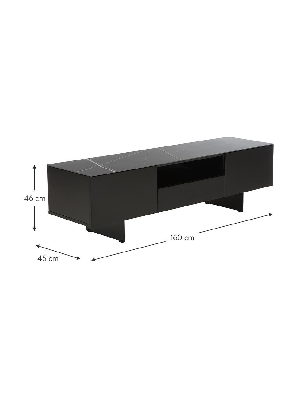 Schwarzes TV-Lowboard Fiona mit Oberfläche in Marmor-Optik, Korpus: Mitteldichte Holzfaserpla, Füße: Metall, pulverbeschichtet, Ablagefläche: Keramik, Korpus: Schwarz, mattFüße: Schwarz, mattAblagefläche: Schwarz, marmoriert, 160 x 46 cm