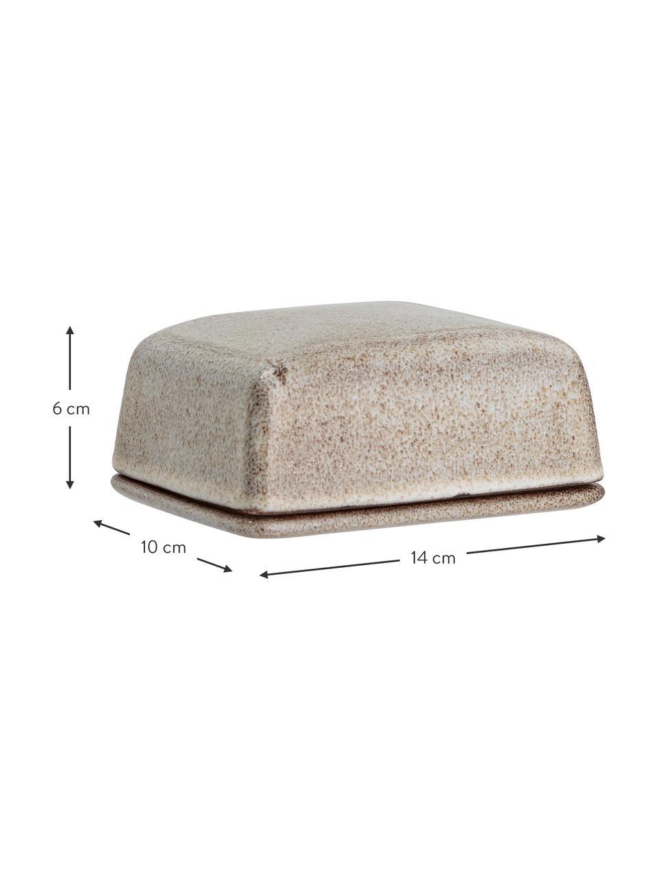 Ręcznie wykonany maselniczka z kamionki Sandrine, Kamionka, Odcienie beżowego, S 14 x W 6 cm