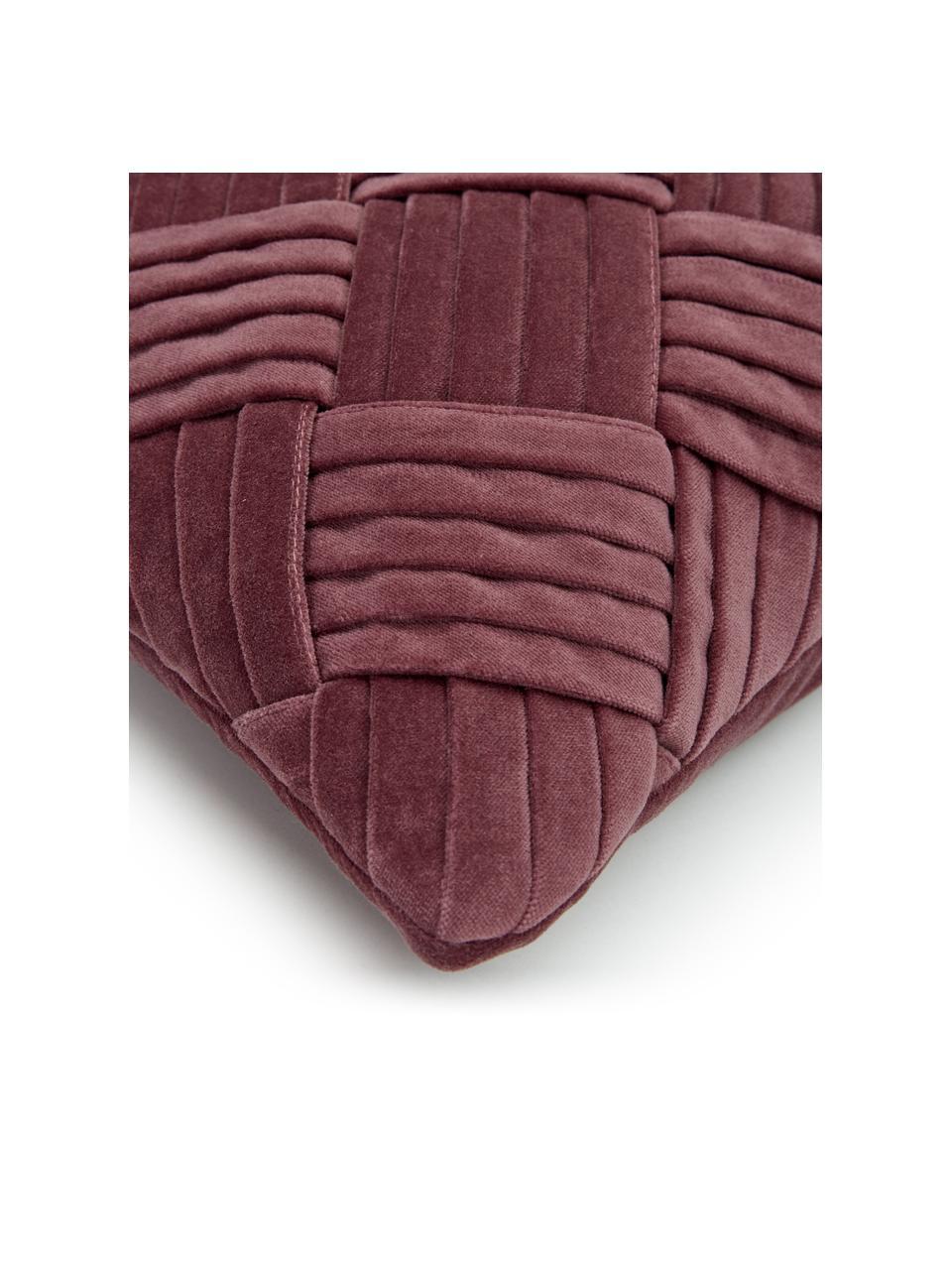 Fluwelen kussenhoes Sina in oudroze met structuurpatroon, Fluweel (100% katoen), Roze, 30 x 50 cm