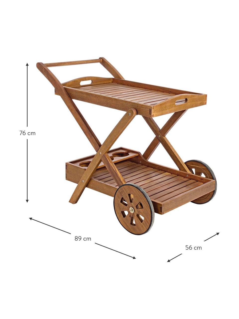 Wózek barowy ogrodowy Noemi, Drewno akacjowe, lakierowane bezbarwnie i olejowane, Brązowy, S 89 x W 76 cm