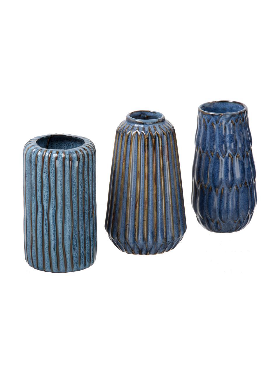 Kleines Vasen-Set Aquarel aus Porzellan, 3-tlg., Porzellan, Blautöne mit Farbverlauf, Sondergrößen